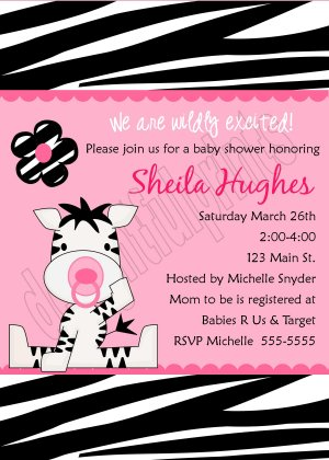 zebra baby shower invitations | wblqual, Birthday invitations