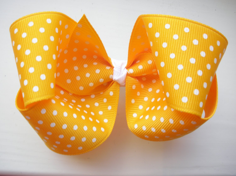 Yellow Gold and White Polka Dot Bow