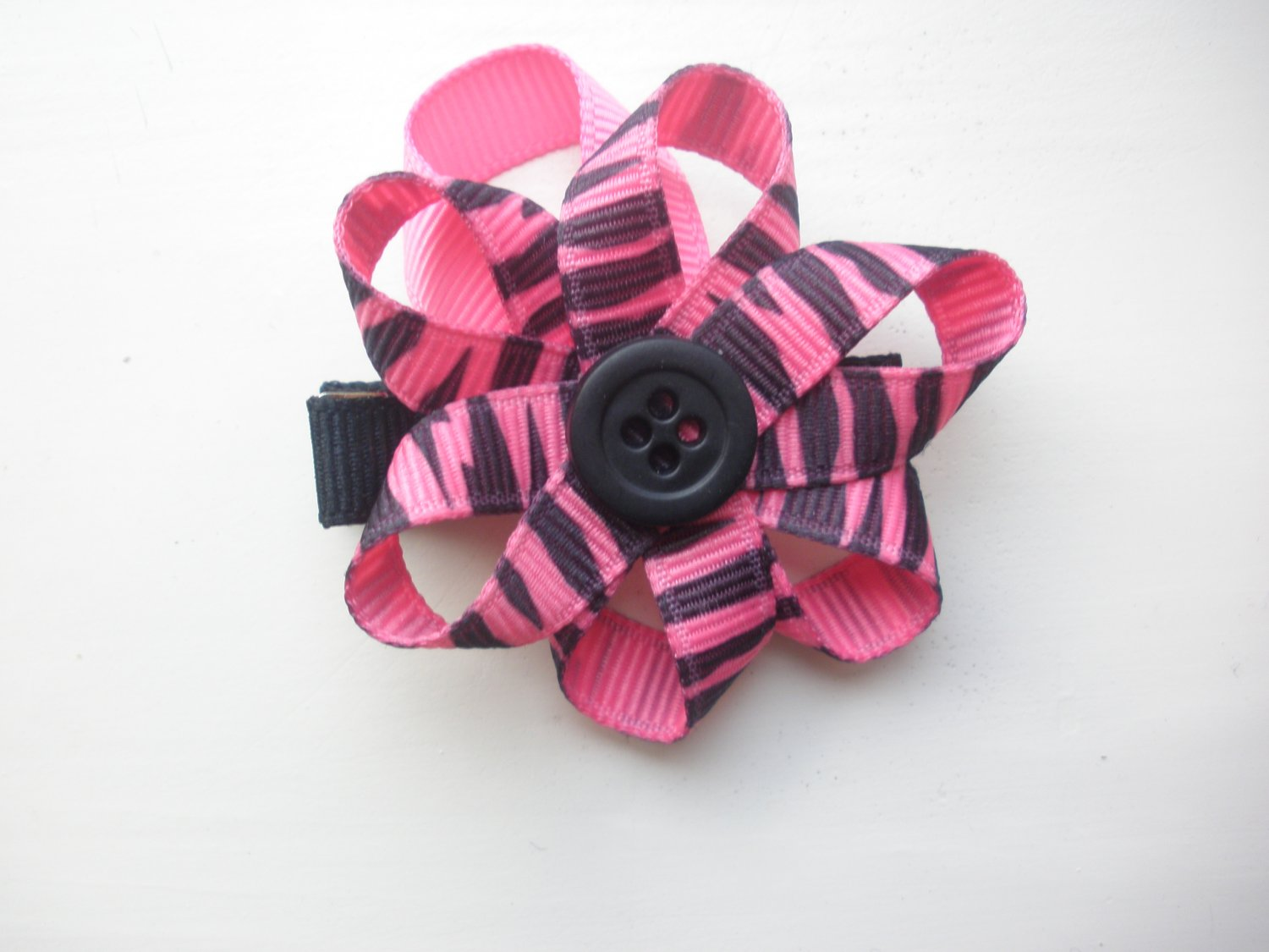 Zebra Ribbon Flower Clippie