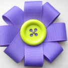 Purple Ribbon Flower Hair Bow