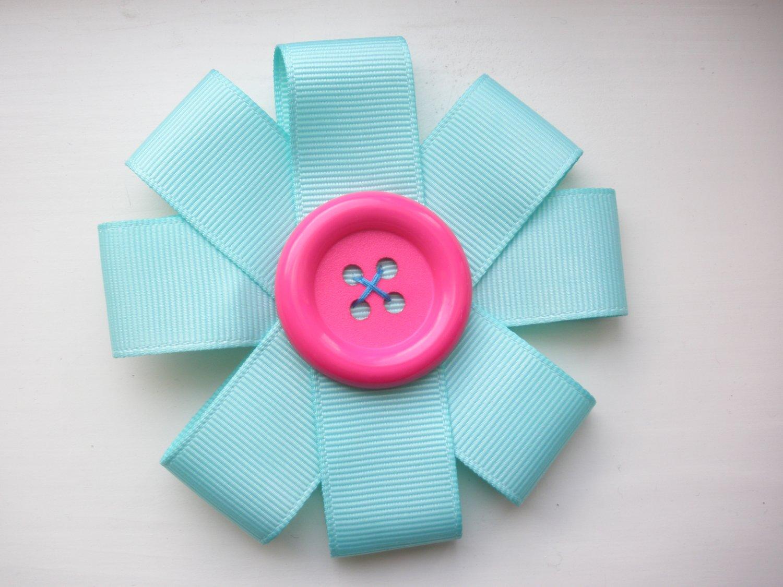Aqua Ribbon Hair Flower