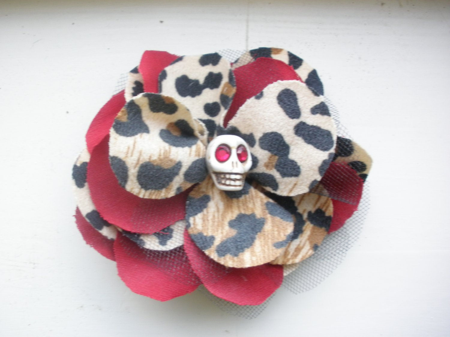 Leopard and Red Rockabilly Hair Flower
