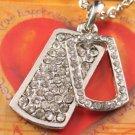 SN054 Crystal Retangle Tag Dangle Silver Pendant Necklace Best Gift Idea