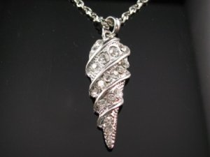 SN055 Crystal Shell Dangle Silver Pendant Necklace Best Gift Idea