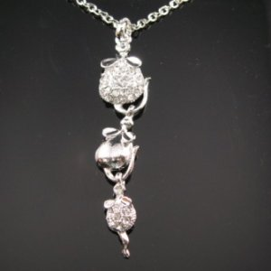 SN058 Crystal Mouse Dangle Silver Pendant Necklace Best Gift Idea