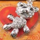 SN062 Crystal Cutie Bear Dangle Silver Pendant Necklace Best Gift Idea