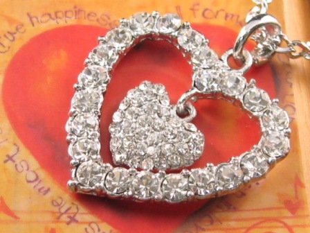 SN065 Crystal Double Heart Silver Pendant Necklace Best Gift Idea