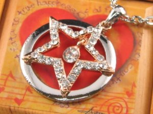 SN067 Crystal Star Round Dangle Silver Pendant Necklace Best Gift Idea