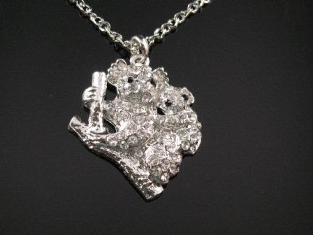 SN069 Crystal Cutie Koala Silver Pendant Necklace Best Gift Idea