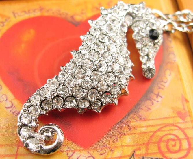 SN349 Crystal Seahorse Silver Pendant Necklace Best Gift Idea