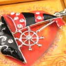 SN348 Crystal Sailing Boat Silver Pendant Necklace Best Gift Idea