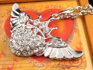 SN345 Crystal Angel Crown Silver Pendant Necklace Best Gift Idea