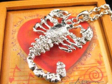 SN344 Crystal Scorpian Silver Pendant Necklace Best Gift Idea