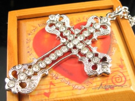 SN342 Crystal Cross Silver Pendant Necklace Best Gift Idea