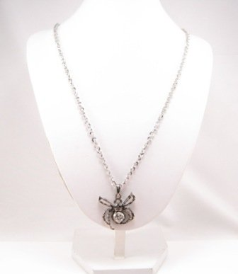 SN082 Crystal Spider Silver Pendant Necklace Best Gift Idea