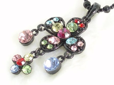 SN085 Elegant Crystal Cross Floral Black Pendant Necklace Best Gift Idea