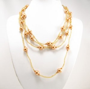 "SN087 Elegant 80"" Long Orange Brown Simulated Pearl Glass Beads Necklace Best Gift Idea"