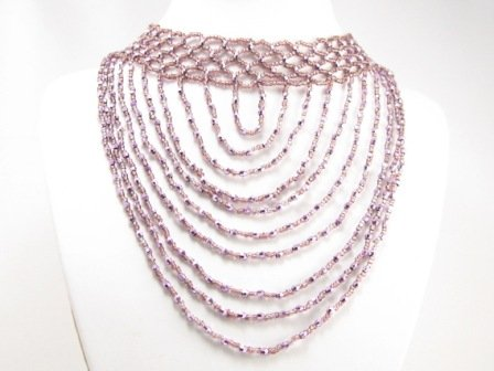 SN091 Elegant Purple Cocktail Victorian Style Beads Necklace Best Gift Idea