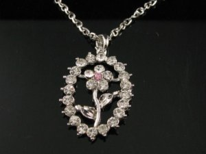 "sn096 Elegant 26"" Long Crystal Oval Floral Silver Pendant Necklace Best Gift Idea"