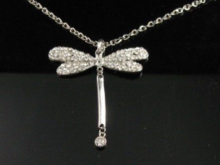 "Elegant 26"" Long  Crystal Dragonfly Silver Pendant Necklace Best Gift Idea"