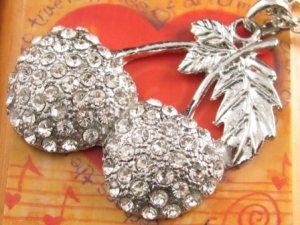 SN102 Elegant  Crystal Cherry Silver Pendant Necklace Best Gift Idea