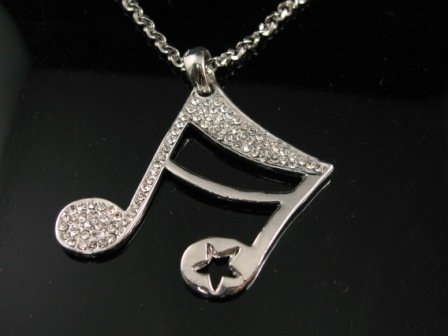 SN123 Elegant  Crystal Silver Music Note Pendant Necklace Best Gift Idea