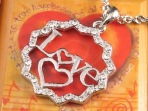 SN126 Elegant  Crystal I Love You Heart Silver Pendant Necklace Best Gift Idea