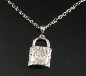 SN128 Elegant Austrian Crystal Heart Lock Silver Pendant Necklace Best Gift Idea