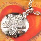 SN130 Elegant Crystal Silver Star Round Pendant Necklace Best Gift Idea