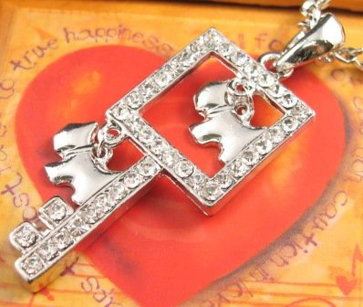 SN144 Elegant Crystal Key with Dog Charms Silver Pendant Necklace Best Gift Idea