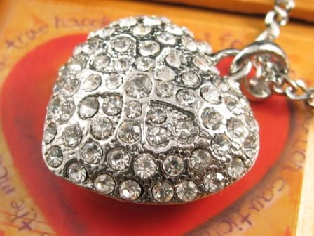 SN147 Elegant Crystal Heart Silver Pendant Necklace Best Gift Idea