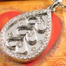 SN150 Elegant  Crystal Pear Heart Silver Pendant Necklace Best Gift Idea