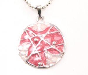 SN174 Elegant Pink Round Enamel Epxy Fashion Silver Pendant Necklace Best Gift Idea