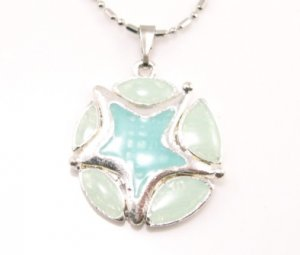 SN176 Elegant Blue Round Star Enamel Epoxy Fashion Silver Pendant Necklace Best Gift Idea