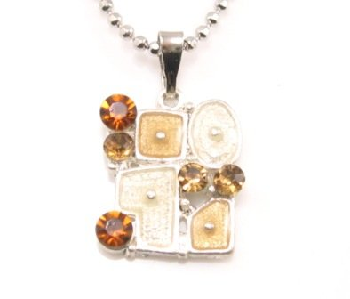 SN178 Elegant Topaz Crystal Grid Enamel Epoxy Fashion Silver Pendant Necklace Best Gift Idea