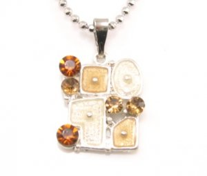 SN178 Elegant Topaz Crystal Grid Enamel Epoxy Fashion Silver Pendant Necklace Best Gift Idea