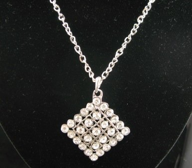 SN336 Crystal Diamond Shaped Silver Pendant Necklace Best Gift Idea
