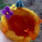 Fairy nest - sparkling needle felted fairy nest/3 mini eggs