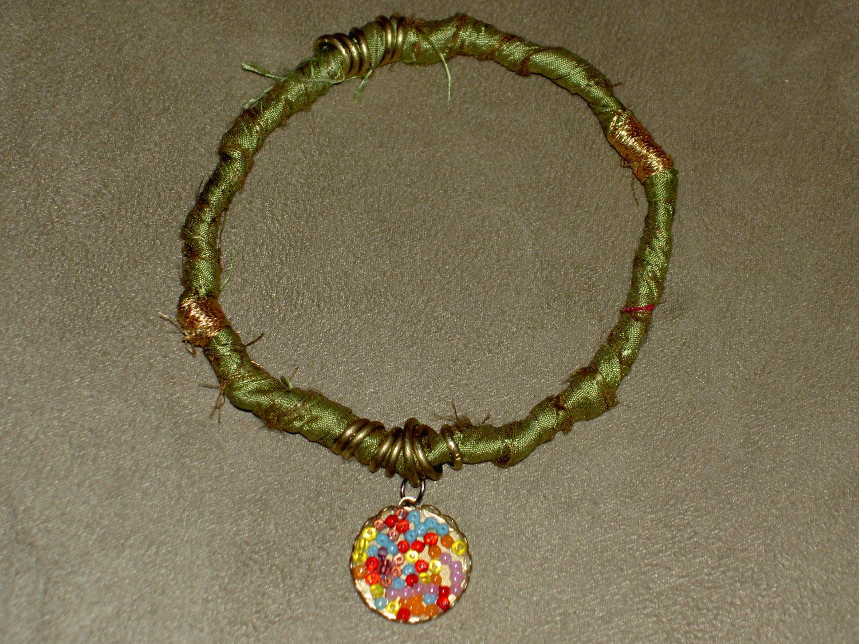 Green Forest Silk Bracelet Bangle