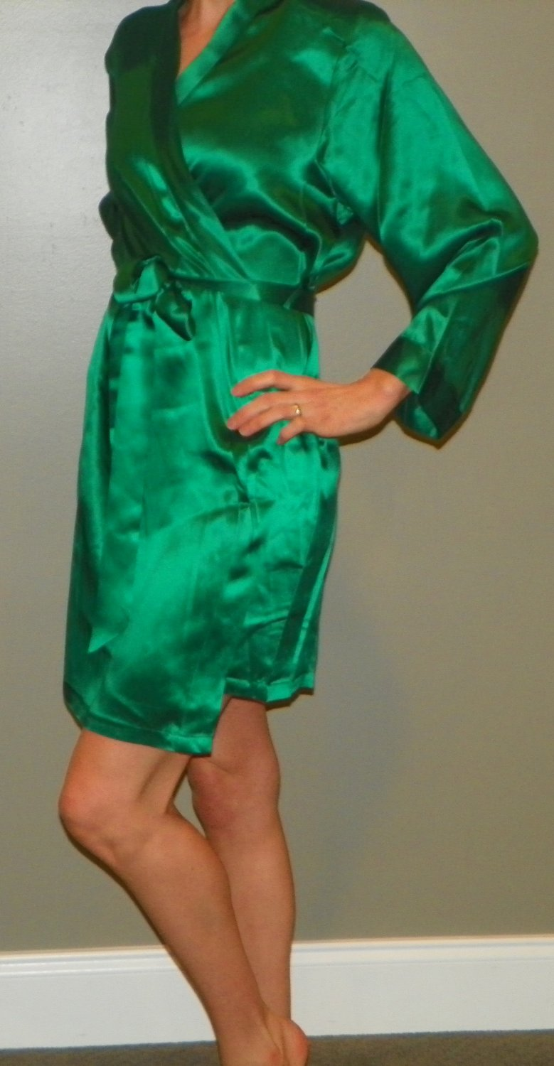 Ladies Silk Robe Emerald Green Sz Small