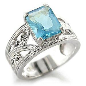 Aquamarine CZ Ring