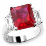 Rhodium Plated Ruby & Clear CZ Ring