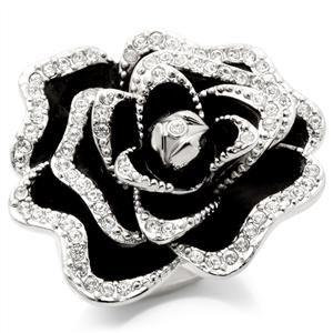 Rhodium Plated Black & Crystal Rose Ring