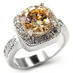 Rhodium Plated Champagne Cubic Zirconia Ring, 4.7ct.