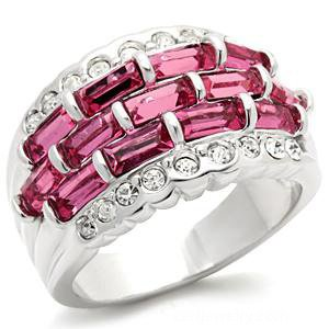 Rhodium Plated Rose Austrian Crystal Ring