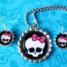MONSTER HIGH BOTTLE CAP NECKLACE AND EARRING SET