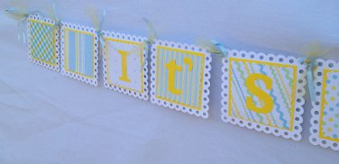Paper Therapy Baby Shower Banner-Boy