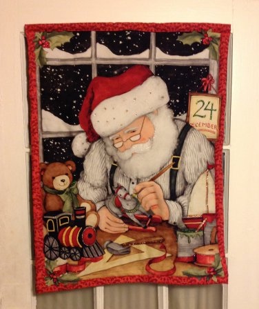 Santa in Toy Shop | Quilted Flag | Paper Therapy