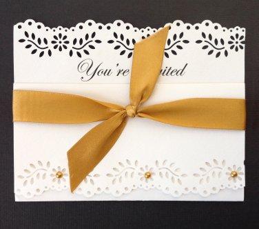 Paper Therapy   Tri-Fold   Invitation w/Ribbon
