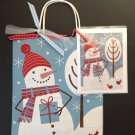 Christmas gift bag w greeting card-Minorah Snowman | Paper Therapy